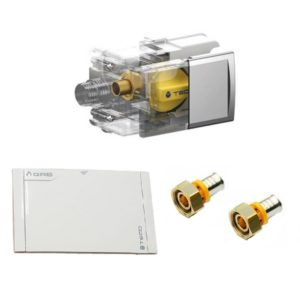 TECO Valvola GAS per multistrato a pinzare e placca BIANCA