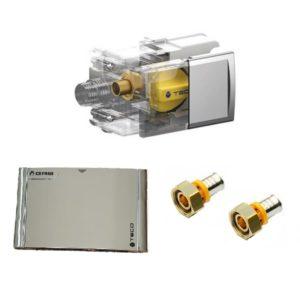 TECO Valvola GAS per multistrato a pinzare e placca CROMATA