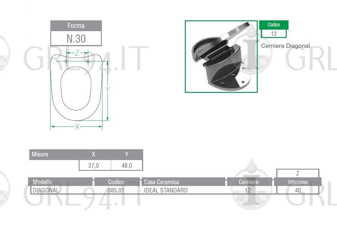 Ideal Standard Diagonal Sedile.Sedile Copriwc Per Wc Ideal Standard Modello Diagonal Grl94 It