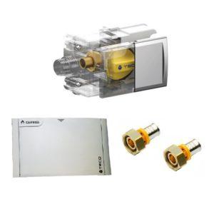 TECO Valvola GAS per multistrato a pinzare e placca SILVER