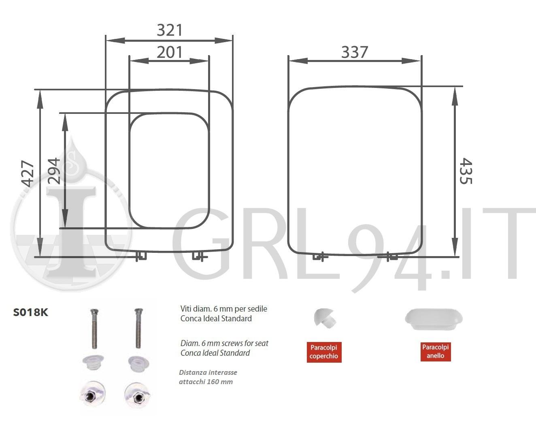 Sedile Copriwc Conca Ideal Standard Termoindurente Grl94 It